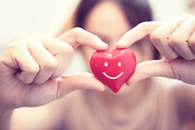Woman Hands Hold Smile Red Heart. Valentine Day Love, Healthcare And Medicine Concept.