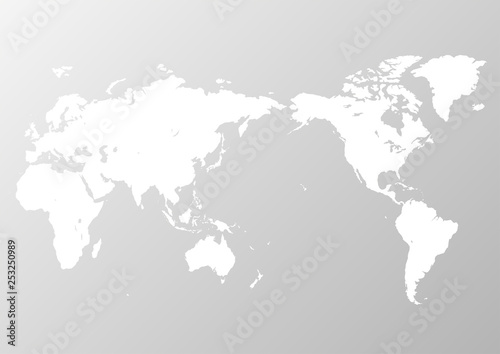 Fotobehang Noord Europa 灰色の背景グラデーションと白い世界地図