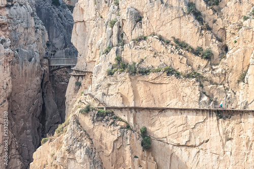 Photo  El Caminito del Rey (The King's Little Path) with Bridge in gorge of the Gaitanes
