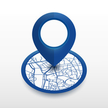 Isometric Location Pin With Ci...
