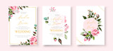 Fototapeta Kwiaty - Wedding floral golden invitation card save the date design with pink flowers