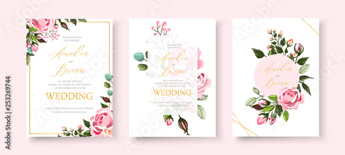 Fototapeta Wedding floral golden invitation card save the date design with pink flowers obraz