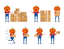 Set Of Halloween Pumpkin Characters Posing With Parcel Box In Various Situations. Funny Monster Holding Package, Running And Showing Other Actions. Flat Vector Illustration