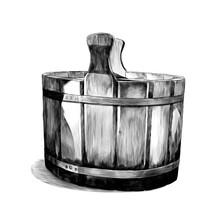 Wooden Basin For Bath, Sketch ...