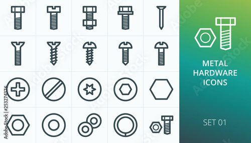 Obraz Metal construction hardware linear icons set. Set of screw, bolt, washer, metalware, nut, diy, hexahedron, metal nail vector icons - fototapety do salonu