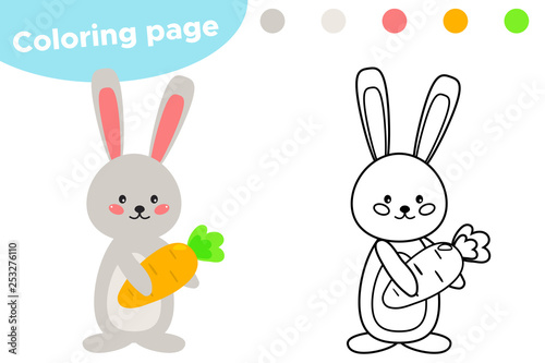 Spring Coloring Page Cute Cartoon Easter Rabbit With Carrot