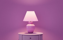 Stylish Lamp On Table Against ...
