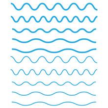 Set Of Wavy, Zigzag, Horizontal Lines. Waves Outline Icon. Wave Thin Line Symbol