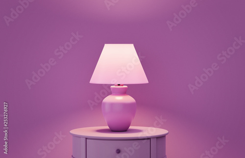Photo  Stylish lamp on table against color wall, space for text