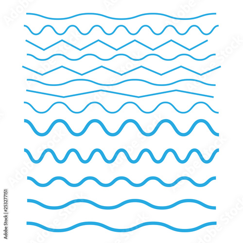 Set of wavy horizontal thin and thick lines Canvas-taulu