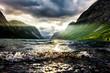 Sonnenstrahl am Fjord