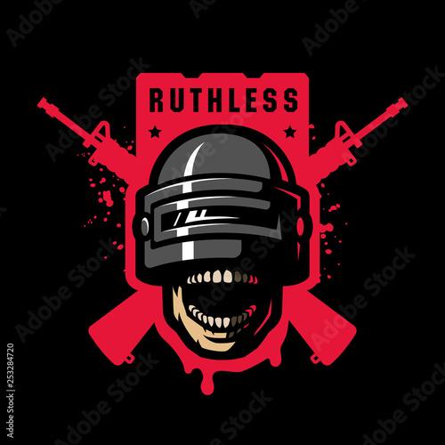 Vászonkép Skull in a stormtrooper helmet, sport game logo on a dark background