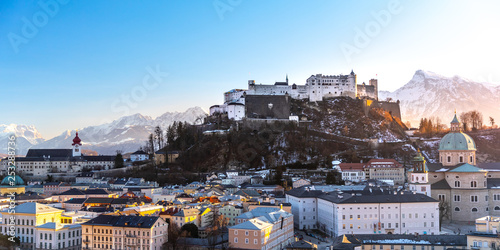 Fotografie, Obraz  Beautiful panoramic view of the historic city of Salzburg in winter, Austria