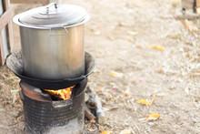 Noodle Pot On A Charcoal Stove