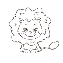 Cute Cartoon Lion. Coloring Book Page For Children. Black And White Outline Illustration.