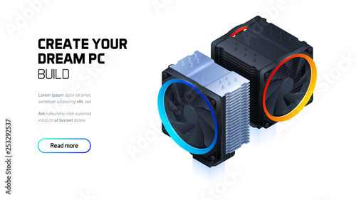 Computer air cooling with color led lighting for cpu processor, 3d realistic fan isometric illustration, custom gaming and workstation components, computer components and accessories store