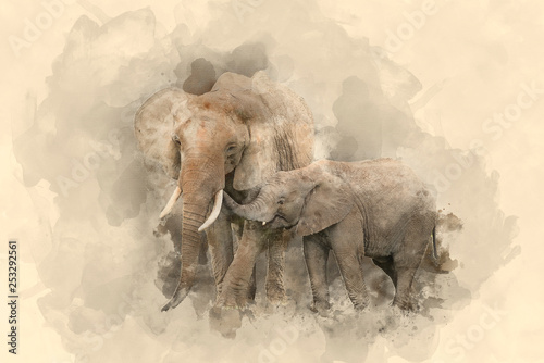 Obrazy na ścianę  beautiful-watercolour-painting-of-mother-and-calf-baby-african-elephant-loxodonta-africana