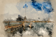 Watercolour Painting Of Hurst Spit Jetty, Boats And Lighthouse.