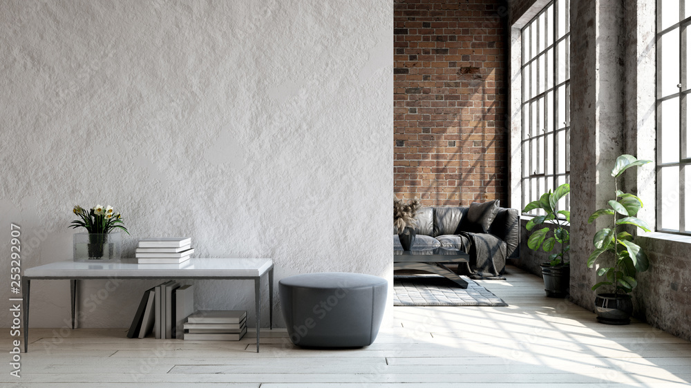 Fototapety, obrazy: Living room loft in industrial style ,3d render