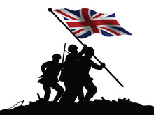 England Flag And Soldiers Vector Illustration