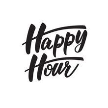 Happy Hour Lettering Design. Vector Illustration.