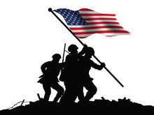 America Flag And Soldiers Vect...