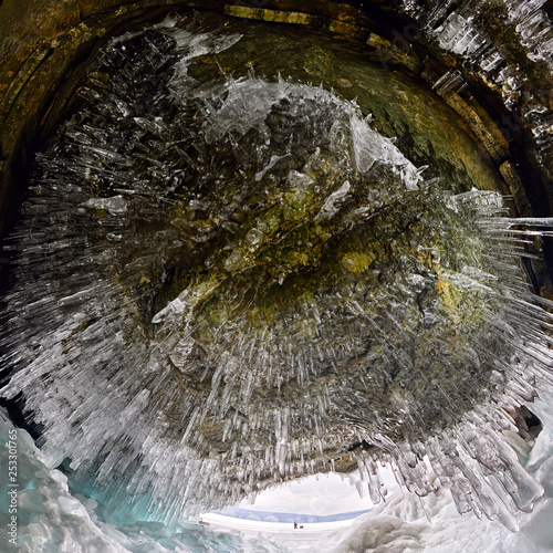 Fotografie, Tablou Ice cave grotto on Olkhon Island, Lake Baikal, covered with icicles