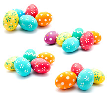 Collection Of Photos Perfect Colorful Handmade Easter Eggs Isolated