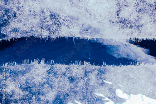 Fototapety, obrazy: Blue ice texture. Abstract arctic winter background.