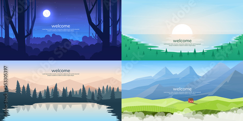 Deurstickers Pool Vector landscapes set