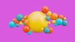 Leinwandbild Motiv Flying spheres in motion isolated on pink background