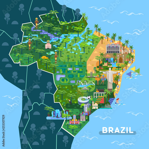 Landmarks, sightseeing places on South America map Canvas-taulu
