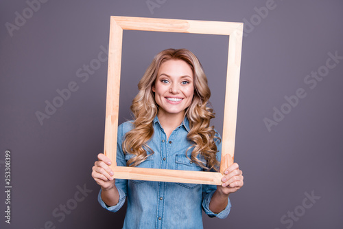 Leinwand Poster Portrait of her she nice-looking cute charming winsome fascinating attractive ch