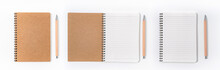 Brown Spiral Notebook Isolated...