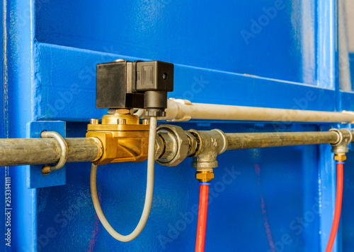 Fotografie, Obraz  Electrical solenoid valve used to control the opening,closing of the wind so that the automatic valve works