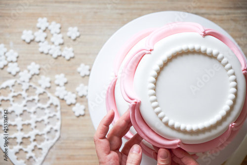 Making And Decorating Wedding Cake With Elements From Pastry