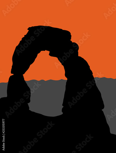 Canvas-taulu Vector illustration of Delicate Arch in Arches National Park - Utah, USA