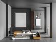Leinwandbild Motiv Mock up poster frame in spacious luxury interior with fireplace. Minimalist modern interior design. 3D illustration.
