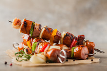 Grilled Skewers With Sausage, ...