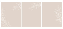 Set Of 3 Olive Twigs Vector Illustration. White Sketched Olive Branches Isolated On A Light Brown Background. Simple Elegant Wedding Cards. Floral Hand Drawn Arts. Illustration Without Text.