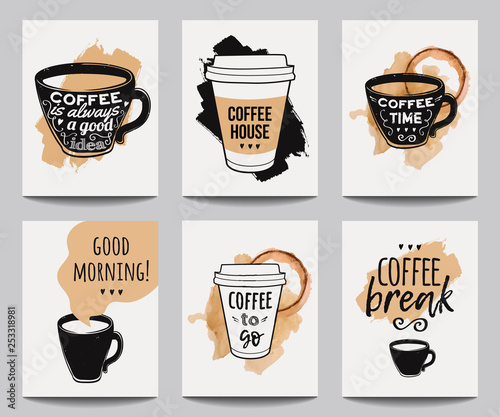 Vector Set Of Modern Posters With Coffee Backgrounds Trendy Hipster