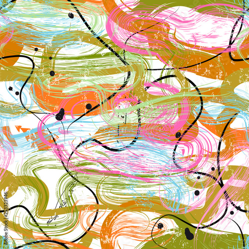 seamless background pattern, with waves, lines, paint strokes and splashes