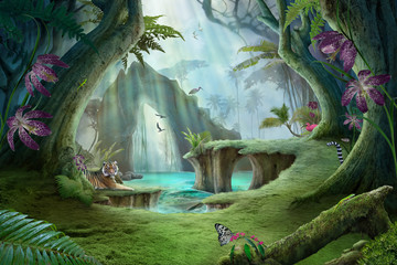 enchanted jungle lake lands...