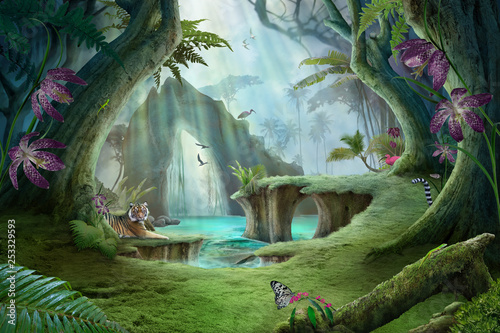 Recess Fitting Forest river enchanted jungle lake landscape with tiger, can be used as background