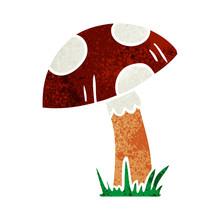 Retro Cartoon Doodle Of A Toad Stool