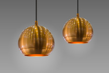 Modern Streamlined Mirror Round Copper Chandelier. Bubble Gold Pendant Light. Isolate On Gray Background