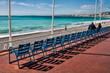 Stuhlreihen, Promenade des Anglais in Nizza, Frankreich