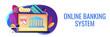 Open banking platform concept banner header.