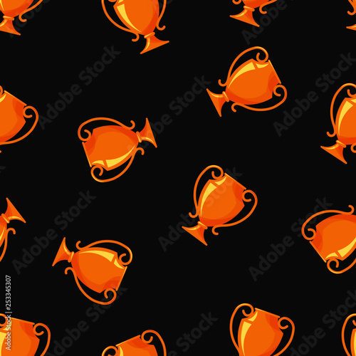 Vector Seamless Pattern Of Trophy Cup Award Icon Isolated