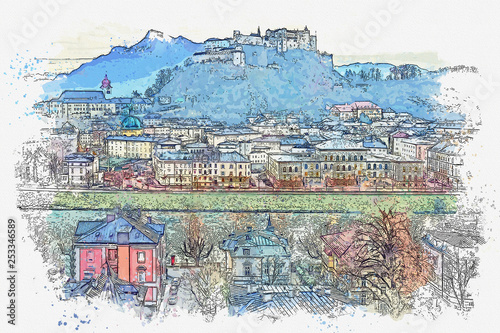 Watercolor sketch or illustration of the beautiful view of the city architecture and the castle in Salzburg in Austria